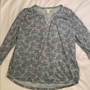 H & M Blouse with Bird Design Size Large